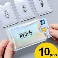 Funda de bloqueo de billetera de Anti RFID, tarjetero para tarjetas bancarias, funda de Metal para tarjetas bancarias, Protector NFC, herramientas al aire libre, 10 Uds.