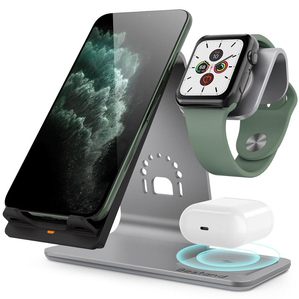 Bestand3 in 1 Aluminum Stand for Apple iPhone X/8/XS/XR Charging Station for Airpods watch Qi Fast airpod Wireless Charger Dock