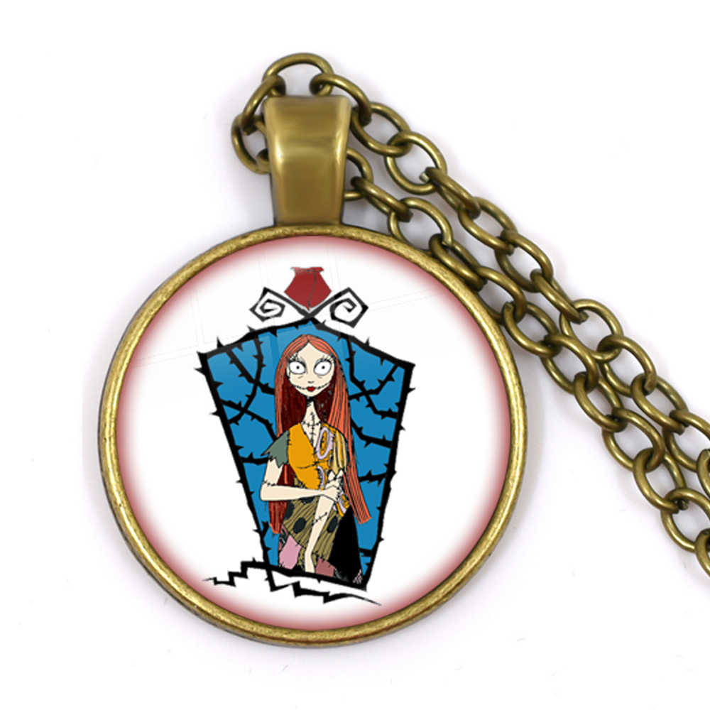 Dessin animé Jack Skellington et Sally collier le cauchemar avant noël cadeau de noël verre Cabochon bijoux pour femmes pendentif