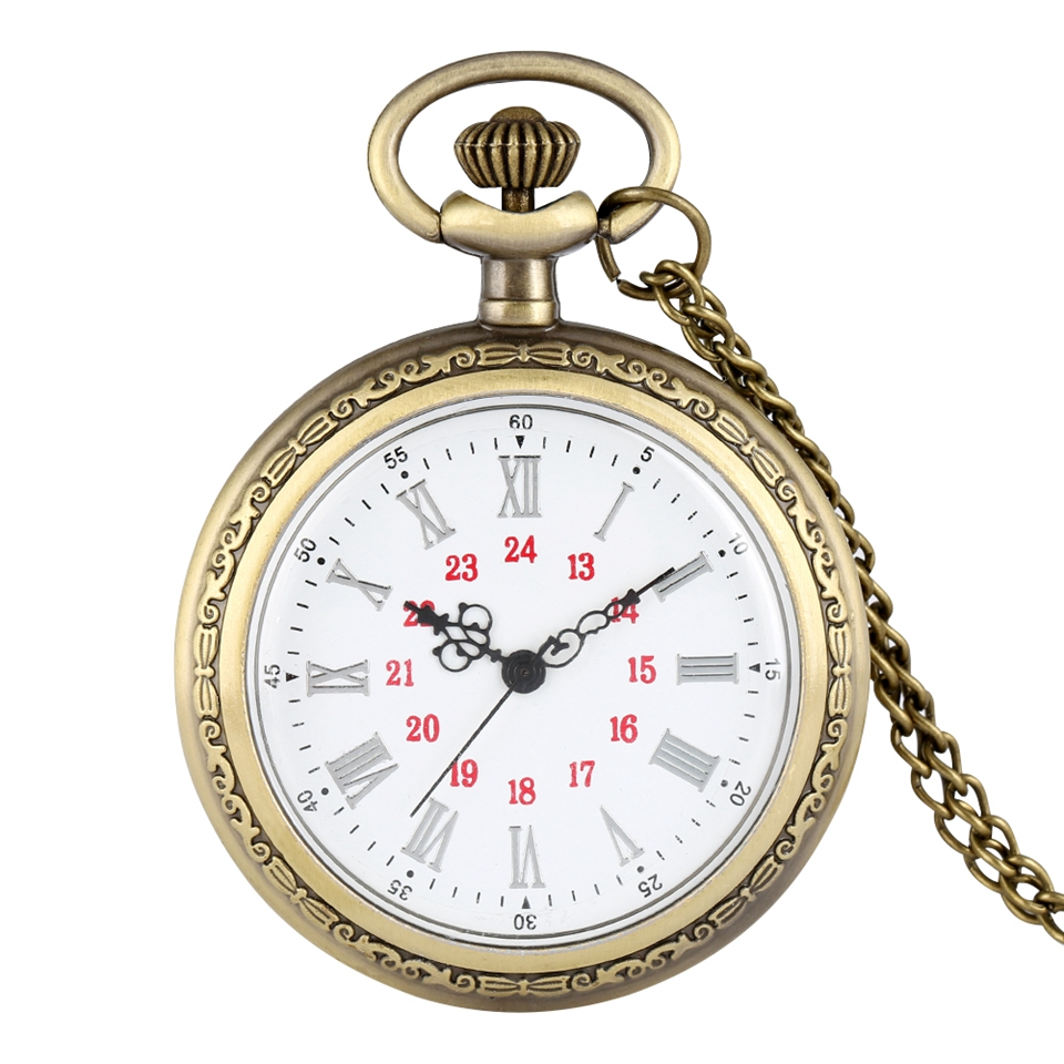 No Cover Design Quartz Pocket Watches Roman Numerals Bronze Floral Rattan Back Case Necklace Retro Chain Watch For Men Women
