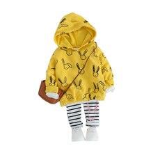 Весенние комплекты одежды для маленьких девочек футболка с капюшоном
