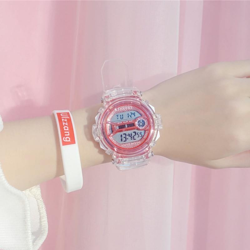 Electronic Watches Women Shock Sports New Style Digital Waterproof Shockproof Female Clock Transparent Lady Wristwatch