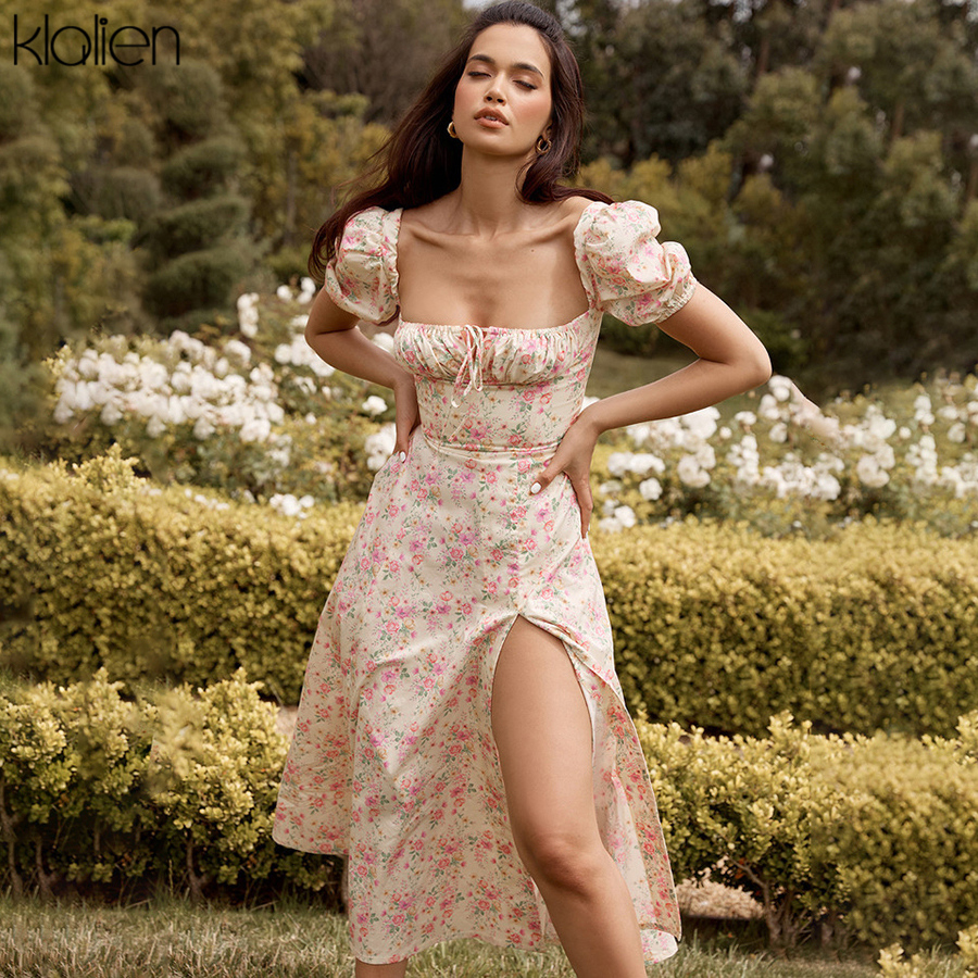 KLALIEN Summer Fashion Elegant Boho Print Slit Maxi Dress Women French Romantic Party Vacation Beach Casual Floral Dress Ladies