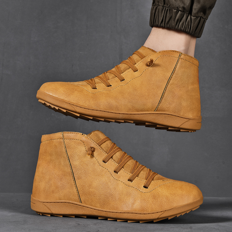 Image 4 - 2020 New Men Boots Leather Ankle Boots Women High Quality PU Desert Boots Couples Fluff Men Sneakers Casual Shoes DropshippingMens Casual Shoes   -