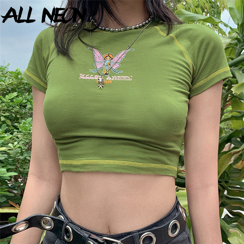 ALLNeon E-girl Butterfly Graphic and Letter Printing Stitch Green Crop Tops Y2K Summer Grunge Style O-neck Short Sleeve T-shirts 1