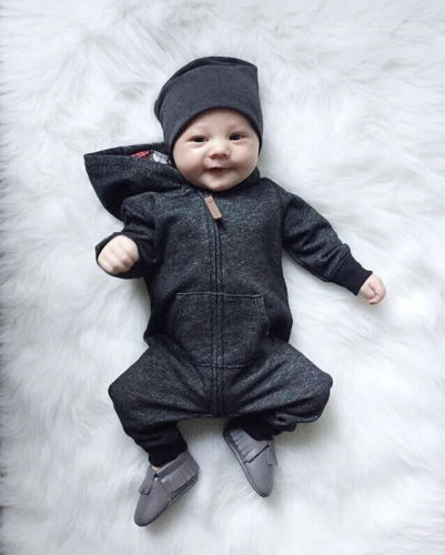 Warm, Zippered, Cotton Long Sleeved Hooded Jumpsuit  2