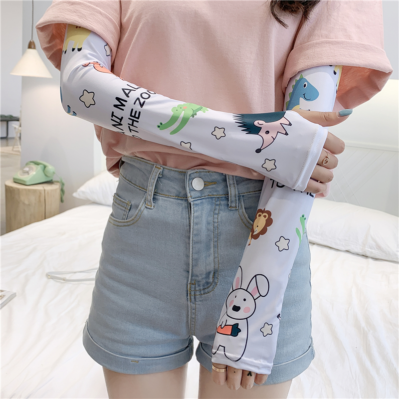 Meryl Arm Sleeves Print Fashion Lady Arm Covers UV Sun Protection Sleeve Slimmer Gloves Female Summer Accessories 2020 New