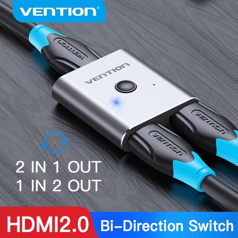 Vention hdmi switcher 4k bi-direção 2.0 hdmi switch 1x 2/2x1 adaptador 2 em 1 para fora conversor para ps4 xiaomi tv caixa hdmi divisor