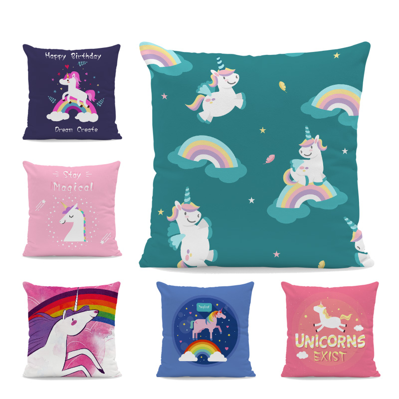 Personalized Cute Unicorn Pillow Green Rainbow Text Square Balloon Cartoon Pillow Home Decoration Sofa Peach Skin Cushion Cover image