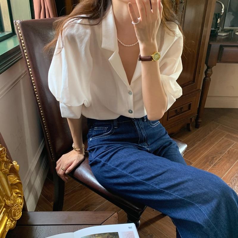 H58d47067088d496d8004ac23d6d630feU - Summer Notched Collar Short Puff Sleeves Minimalist Buttons Blouse