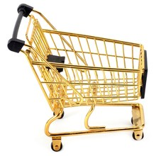 Creative Mini Shopping Cart Storage Box Small Object Storage Basket Wrought Iron Metal Supermarket Trolley Storage Basket-Gold(China)