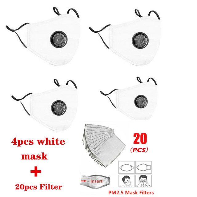 (Ship within 12 hours)4pcs mask+20 PCS Filter Mask Mouth Respirator Washable Reusable Masks Pink mask Cotton drop shipping 5
