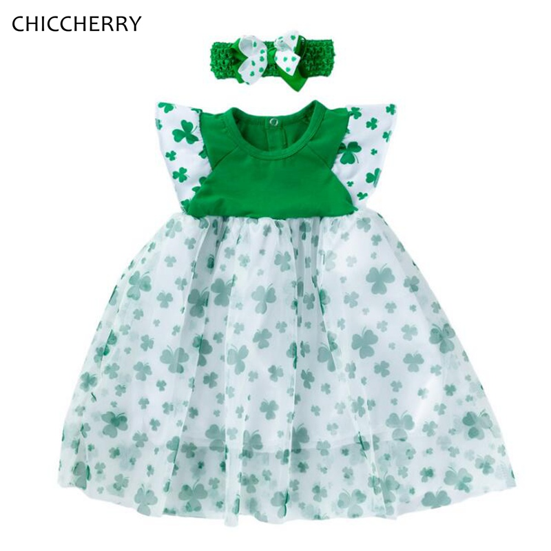 Fashion 2020 New Arrival St Patricks Day Toddler Outfit Clover Printing Baby Girl Dress Headband Kids Clothes Infant Clothing