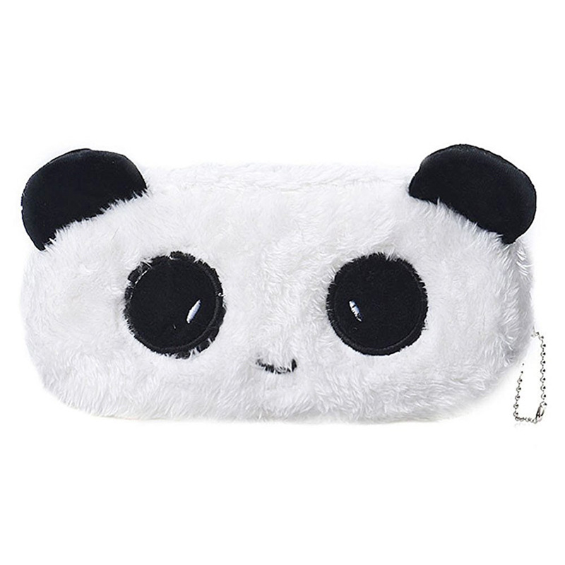 Fashion Cartoon Faux Fur Panda Pouch Storage Purse Pencil Case Pen Bag Wallet Stationery Pencilcase Makeup Cosmetic Handbag