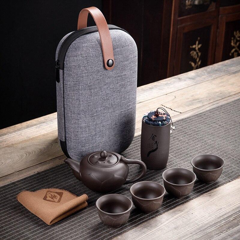 Purple Clay Kung Fu Teapot 230ml Chinese Porcelain Yixing Zisha Tea Pot 4 Cups Kung Fu Travel Tea Cup Handmade Tea Pot Cup Set 8