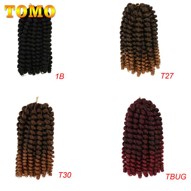 TOMO Jumpy Wand Curl Crochet Braids 8 12Inch Jamaican Bounce Curly Hair Ombre Synthetic Crochet Braiding Hair Extensions 20Roots 5