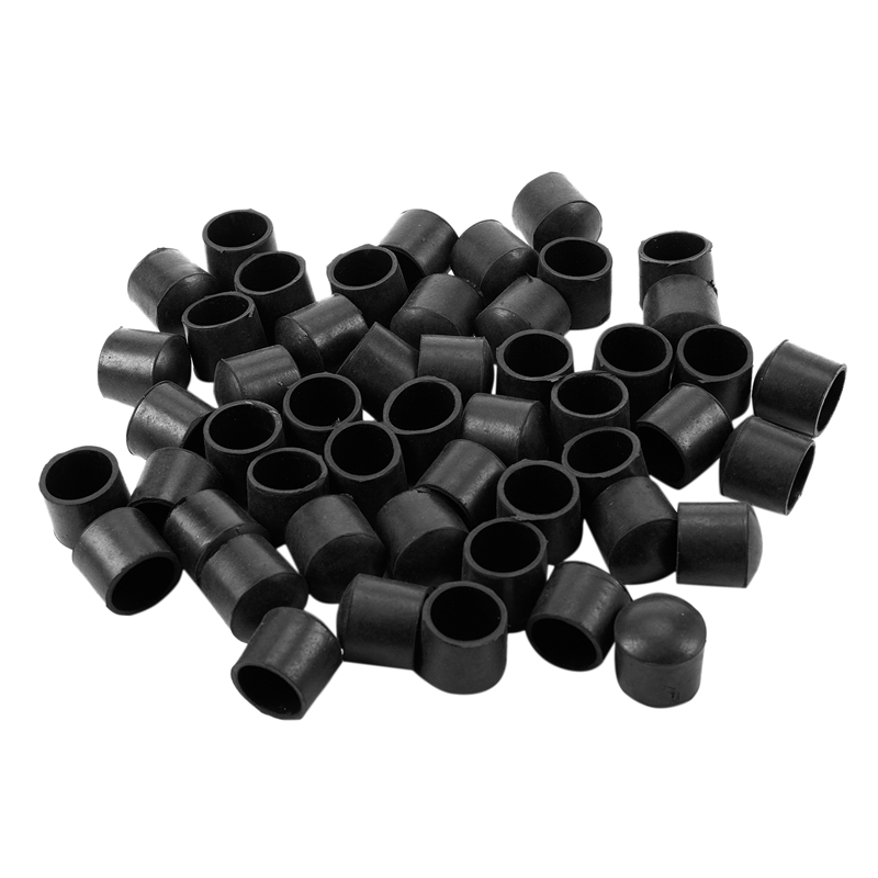 50pc Rubber Table Chair Legs For Furniture Leg Cap End Tip Diameter 25mm Black