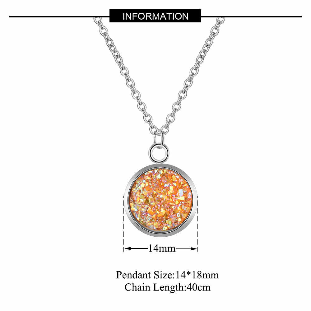 AAAAA Quality 100% Stainless Steel Shinning Resin Charm Necklace for Women High Polish Never Tarnish Jewelry Necklace