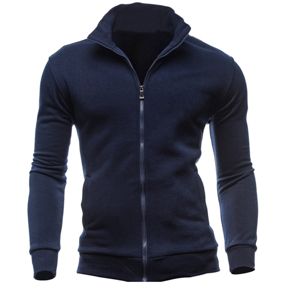 2020 Men's Sweatshirt Clothing Fashion Zip Stand Collar Solid Man Casual Outwear Tracksuits Hoody #Zer