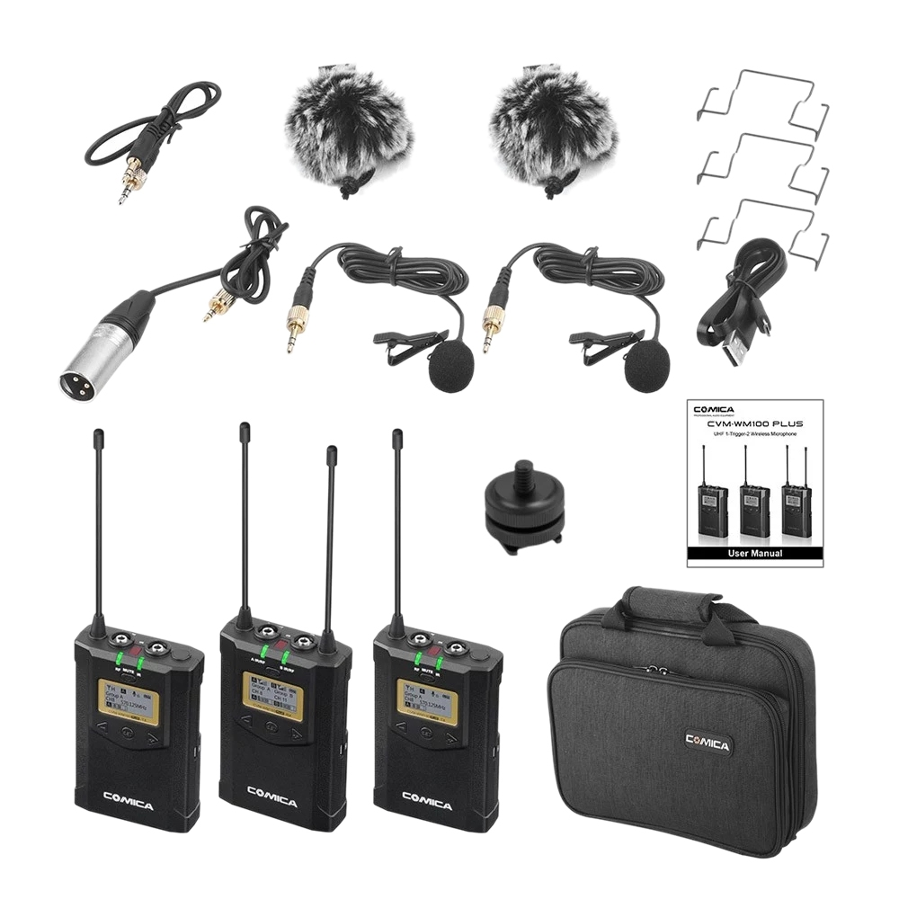 CoMica CVM-WM100 PLUS UHF 48-Channel Wireless Dual Lavalier Microphone System For Canon Nikon Sony Panasonic DSLR Camera