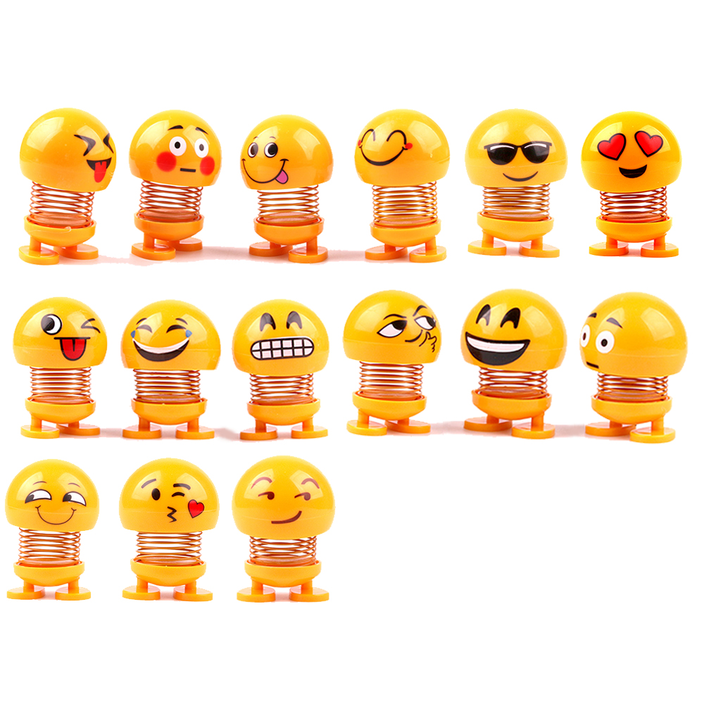 Expression Shaking Head Doll Spring People Spring Smiling Face Spring Dol  Toy Spring Car DecorationToys Gift