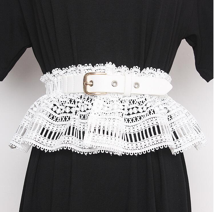 Women's Runway Fashion Elastic Lace Cummerbunds Female Dress Corsets Waistband Belts Decoration Wide Belt R2339