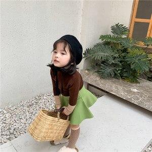 Image 4 - Bebek Kız Yüksek Bel Yün Etek çocuk şemsiyesi Etek Saf Renk Çocuklar Tüm Maç Etek KidsGirls Giyim