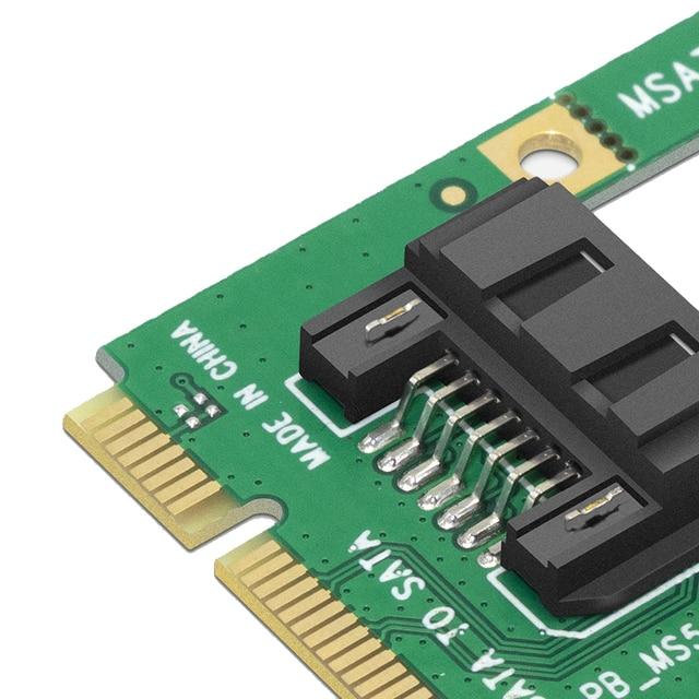"mSATA to SATA Converter Card Mini SATA to 7-Pin SATA Extension Adapter Full-high Half-size for 2.5"" 3.5"" HDD SSD with SATA Cable 4"