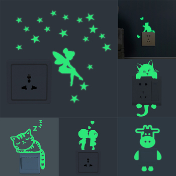 Luminous Cartoon Switch Sticker Glow in the Dark Cat Sticker Fluorescent Fairy Moon Stars Sticker Kid Room Decoration Home Decor image