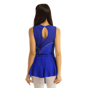 Image 2 - TiaoBug Adult Performance Dance Costume Sleeveless Mesh Splice Rhinestones Figure Skating Dress Women Ballet Gymnastics Leotard