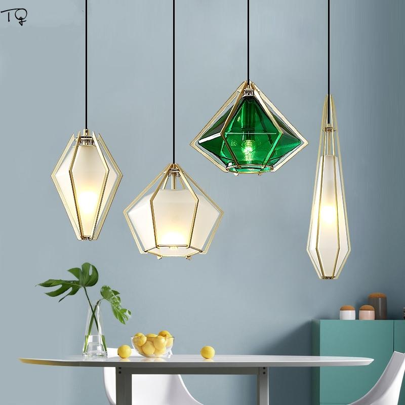 Nordic Modern Minimalist Diamond Acrylic LED Pendant Light Creative Coffee Hanging Lamp Shop Living Room Bar Bedroom Living Room