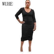 WUHE Vintage Sexy Women Bandage Autumn V-neck Long Sleeve Bodycon Dress New Fashion Pleated Elegant Club Dresses