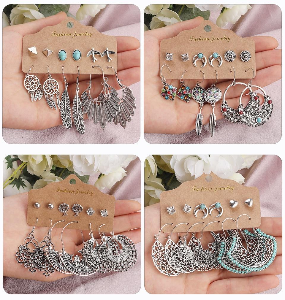 Bohemia Silver Earrings Set Vintage Ethnic Long Round Leaf Tassel Wedding Water Drop Earrings for Women Girls Statement Jewelry (172)