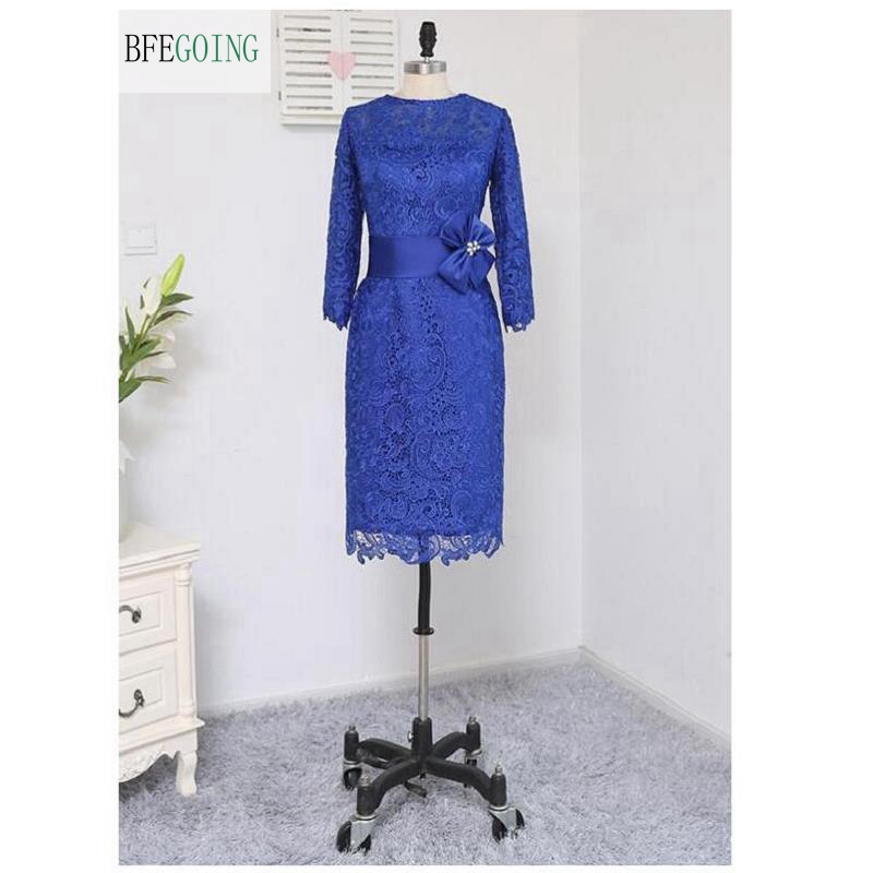 Royal Blue Lace 3/4 Sleeves Knee-length Sheath  Mother Of Bride Dress Custom Made