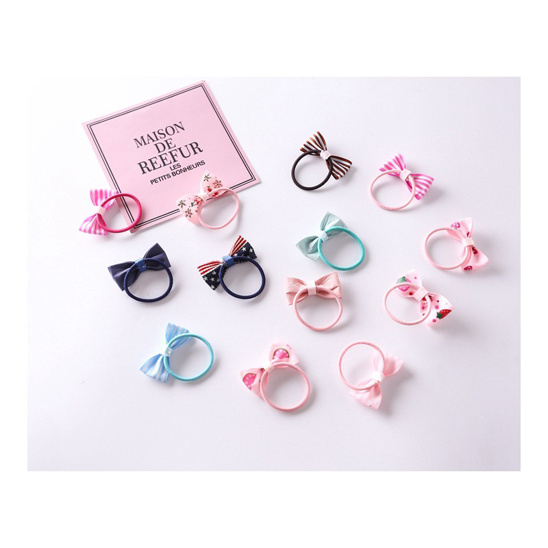 10Pcs/Set New Girl Hair Ring Bow Hair Band Bow Hair Rope Baby Hair Accessories