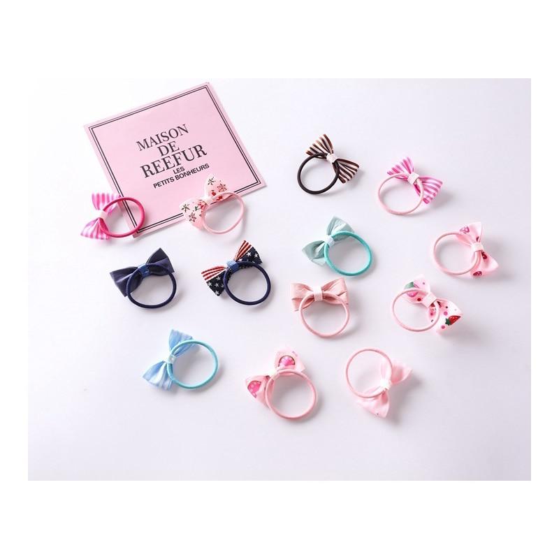 10Pcs/Set New Girl Hair Ring Bow Hair Band Bow Hair Rope Baby Hair Accessories