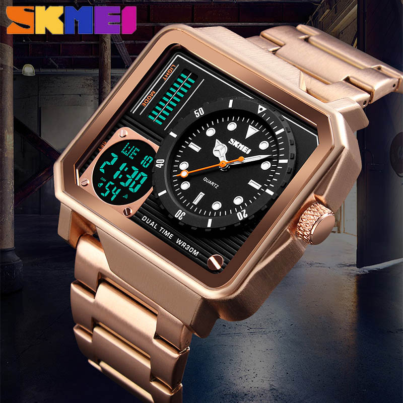 SKMEI 1392 Men LED Digital Watch Stainless Steel Strap Watches Day Date Display Personality Alarm Watch Relogio Masculino