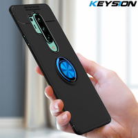 KEYSION-funda a prueba de golpes para Oneplus 8 8 Pro, funda trasera del teléfono con anillo magnético de silicona suave para Oneplus 7T 7T Pro 1 + 7 7 Pro 6 6T