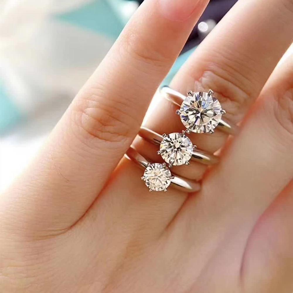 Véritable bague en argent 18K plaqué or blanc 0.5ct-3ct D couleur Moissanite bagues de fiançailles pour les femmes bijoux fins réglables