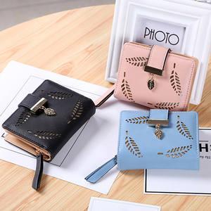 Short Wallets Women Handbag Purse Card-Holder Female Hollow Fashion for Coin Leave-Pouch