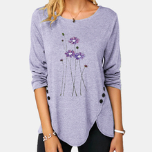 Women Blouse Shirt Autumn Elegant Print Long Sleeve O Neck B