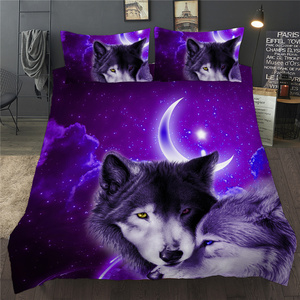 3D Duvet Quilt Cover Set Wolf Animal Print Bedding Set Single Double Twin Full Queen King Size Bed Linen For Children Kid Adults
