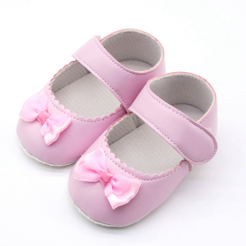 Fashion Girls Baby Shoes Cute Bow PU Leather Newborn First Walker Shoes Infant Princess Soft Sole Bottom Anti-slip Shoes