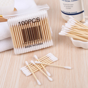 100PCS Disposable Double Head Wooden Cotton Swab Makeup Cotton Buds Tip For Medical Sticks Nose Ears Cleaning Health Care Tool health care professional medical double dual head stethoscope double barreled functional high quality estetoscopio