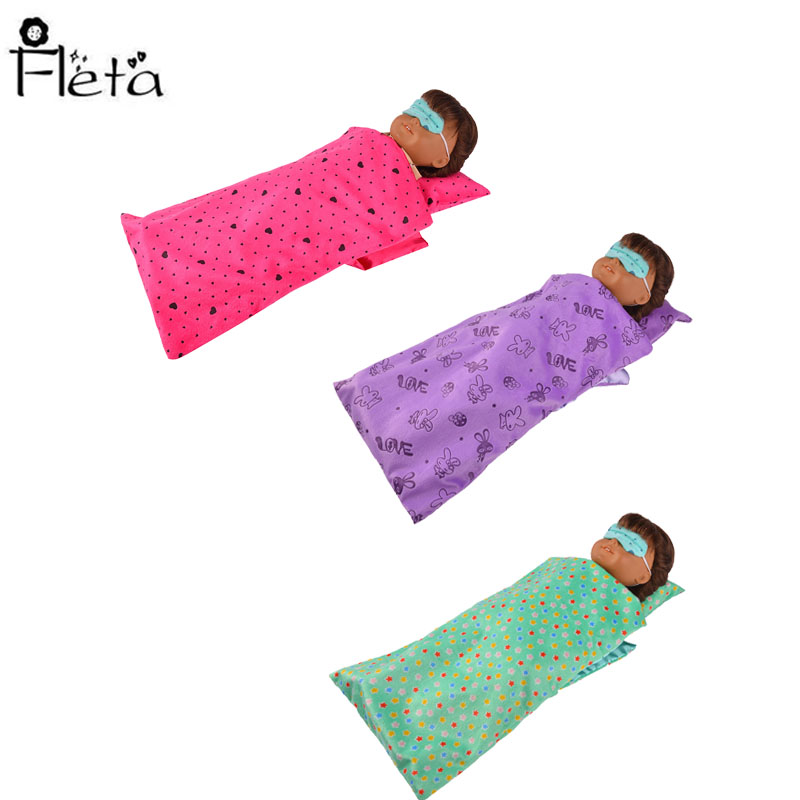 New Colorful Sleeping Bag & One-Piece Pajamas Fit 18 Inch American 43cm Baby Doll Clothes Accessories Generation Christmas Gifts