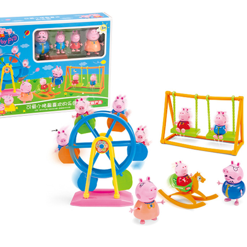 Peppa Pig Pepa Pig Ferris Wheel Set Play House Swing PVC Action Model Dolls Toys Amusement Park Children Peppa Pig Birthday Gift