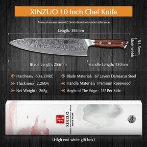 Image 2 - XINZUO 10 인치 요리사 칼 일본 다마스커스 강철 부엌 칼 호텔과 레스토랑을위한 최고의 품질 전문 Gyuto 칼