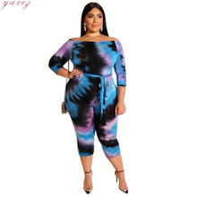 Sexy Off Shoulder Jumpsuits Women 2020 Summer Overalls Printed Short Playsuit Bodycon Tie Dye Rompers Plus Size 4xl 5xl Overalls(China)