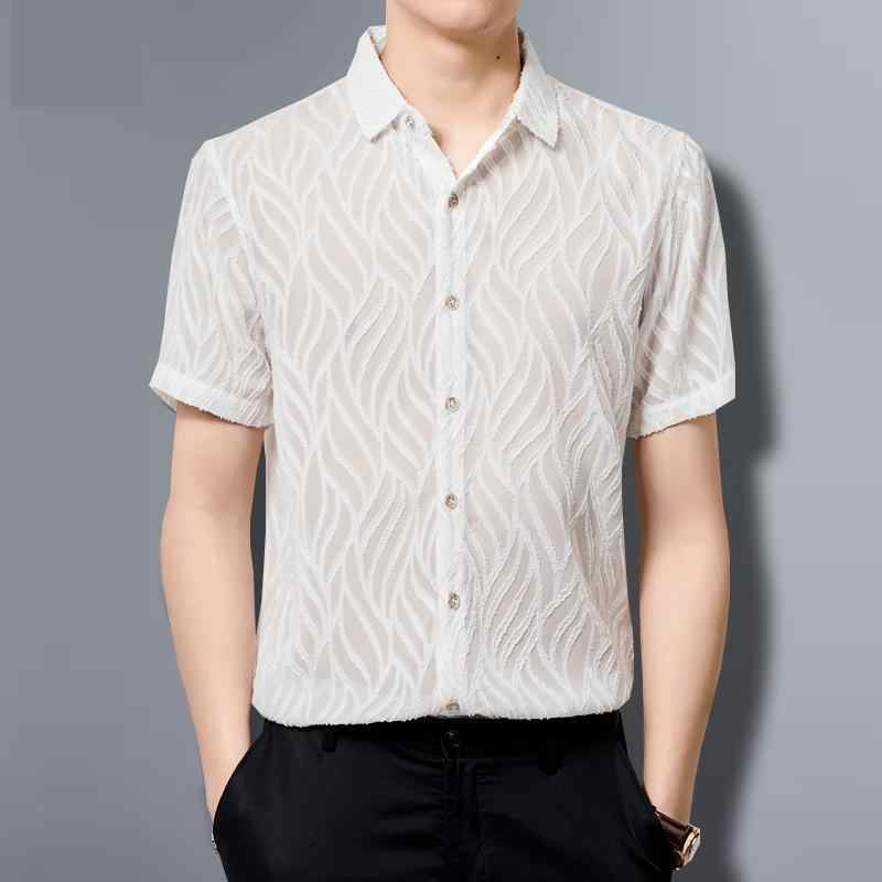 Şeffaf gömlek Mens See Through gömlek örgü siyah büyük boy erkek dantel gömlek artı boyutu seksi çizgili elbise erkek kulübü
