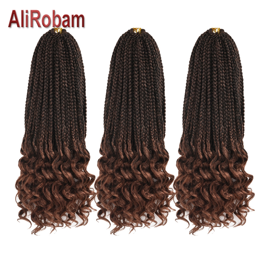 AliRobam Crochet Hair Wavy Ends Box Braids Ombre Black Brown Burgundy Synthetic Braiding Hair Extensions 22 Strands/pc